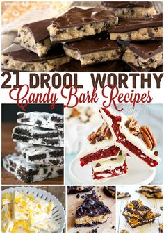 21 Drool Worthy Candy Bark Recipes, a collection of the most epic candy bark recipes that will have you running to the grocery store! Mini Desserts, Frozen Desserts, Easy Desserts, Delicious Desserts, Dessert Recipes, Yummy Food, Frozen Treats, Oreo Dessert, Holiday Baking
