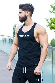 - Tank top REAP Black /   - Maiou REAP Negru Tank Man, Tank Tops, Fit, Black, Fashion, Moda, Halter Tops, Shape, Black People