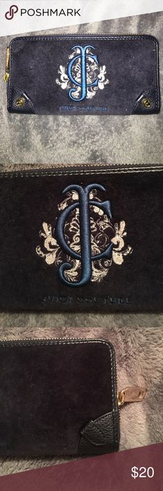 Juicy wallet Navy blue Juicy wallet, very soft, many compartments for organization, pink inside with crowns Juicy Couture Bags Wallets