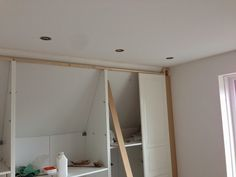 IKEA Hackers: Pax Built-in for sloping ceiling - see finished picture - which is awesome! Ikea Closet Hack, Ikea Pax Wardrobe, Closet Hacks, Closet Ideas, Pax Closet, Closet Organization, Organization Ideas, Attic Renovation, Attic Remodel