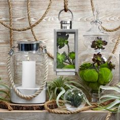 Portland Lantern from Z Gallerie along with additional lanterns- more elegant buffet decor.