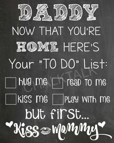 Daddy's Homecoming To-Do List | Military Homecoming Sign - Military Sign - Military Chalkboard Homecoming Sign - Welcome Home Dad - Printable - Photo Prop #ad