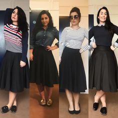 """""""Menina Celia, mas você não repete roupa?"""" PARTE 3: O pretinho básico é regra pra quem quer ter um guarda-roupa funcional. Você pode simplesmente fazer 1001 combinações com uma saia preta! Do chic ao casual, adquira UMA saia preta de boa qualidade para chamar de sua ❤️ . EDIT 1: tecido da saia é elastano ou spandex. . #modesty #modestia #modestymatters #modestiasemfrescura #fashion #fashionblogger #christianblogger #lookoftheday #ootd #outfitoftheday #tbt #catholic #catholicism #trend…"""
