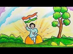 How to Draw Republic Day Image Nature Drawing For Kids, Basic Drawing For Kids, Easy Scenery Drawing, Drawing Lessons For Kids, Easy Drawings For Kids, Painting For Kids, Independence Day Drawing, Independence Day Poster, Independence Day Images