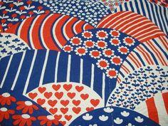 Retro tyg i blått och vit rött på Tradera.com - Tyger | Textilier |