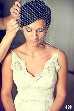The plan-have a white-ish veil and then bridesmaids have a sassy colored one to match dresses. LOVE this type of veil
