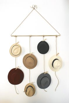 DYI Hat Rack, with a cool collection of hats on display.