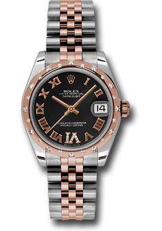 Rolex Oyster Perpetual Datejust 31mm Steel and Gold Pink Gold 24 Dia Bezel - Jubilee Watch 178341 bkdrj