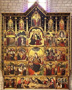Pere Serra. Retablo de la Cofradía del Espíritu Santo. Año 1394. Temple sobre tabla. Iglesia de Santa María, Manresa, Barcelona. (Arte Gótico español)