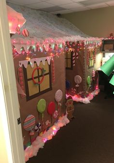 DIY Christmas Decorating Office Contest Gingerbread house cubicles work ginger bread candy icing lights by samanthasam Candy Land Christmas, Christmas Gingerbread, Christmas Fun, Gingerbread Houses, Christmas Carnival, Beautiful Christmas, Diy Christmas Light Decorations, Office Decorations, Christmas Door Decorating Contest