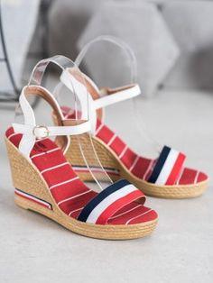 Sandálky s farebnými prúžkami Types Of Heels, Lugano, Fashion Seasons, Karl Lagerfeld, Crocs, Versace, Brooklyn, Tommy Hilfiger, Christian Louboutin