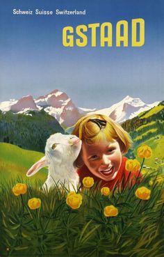 1949 Gstaad ,Switzerland vintage travel poster/ goat