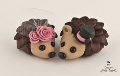Hedgehogs Wedding Cake Topper with Roses by MyCustomCakeTopper, $70.00
