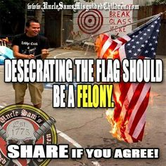 Desecrating the flag should be a felony https://www.facebook.com/misguidedchildren