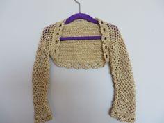 Bolero en crochet laine couleur or pour filles (6-8 ans) pour communion fait sur commande : Mode filles par vacri