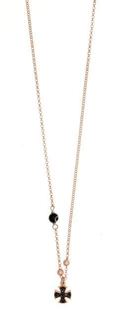 Protasis: Κολιέ αλυσίδα ασημένιο 925 επιχρυσωμένο ρόζ, με μοτίφ σταυρό, μαύρο μάτι και μαύρα σπινέλια