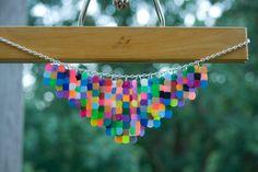 Handmade Multicolored Plastic Bead Statement Bib Necklace