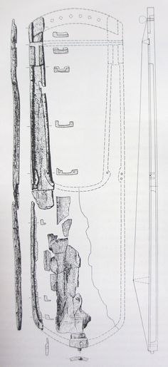 Oberflacht 31 drawing  An Alamannic Lyre, a highly interesting and important document of the history of music, has been discovered - so far as is known the first time ever - in 1810 in a cemetery of the 7th century at Oberflacht (near Tuttlingen in Southern Germany) and has been left unnoticed.