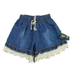 Girl Elastic High Waist Denim Shorts Cute Loose Short Pant Lady Stretch Lace Crochet Cut-Off Jeans LZH7