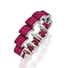 Sothesby's Magnificent Jewels ~ 18 Karat White Gold, Invisibly-Set Ruby and Diamond Bracelet, Aletto Brothers Ruby Bracelet, Diamond Bracelets, Gemstone Bracelets, Bangle Bracelets, Ruby Jewelry, Diamond Jewelry, Jewelery, Fine Jewelry, Emerald Earrings