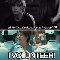 "How you felt when Tate asked this question. | 28 Jokes Only ""American Horror Story"" Fans Will Understand @ashtongracer"