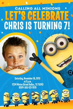 NEW to the shop! Minions - Despicable me Birthday Party Invitation  Available at PartySprinkles.com