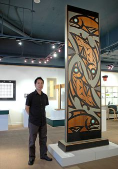 Salmon Housepost: Legend by Susan Point, Coast Salish (Musqueam) artist (X70905)