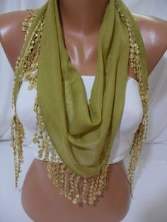 Lime Green Shawl/ Scarf  Headband  Cowl with Lace Edge  by DIDUCI, $12.50