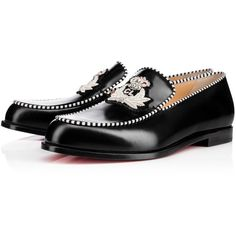 Christian Louboutin Laperouza Flat ($895) ❤ liked on Polyvore featuring shoes, flats, black, loafer flats, striped flats, red sole shoes, flat shoes and christian louboutin loafers