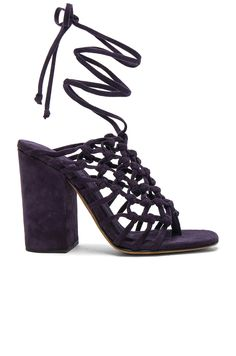 8c3ddc1caac ALUMNAE Knotted Suede Wrap Block Heels.  alumnae  shoes