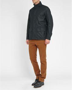 Barbour | Blue Navy Halkirk Corduroy-collar Waxed Jacket for Men | Lyst