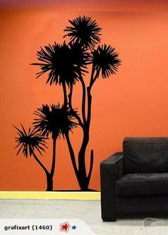 I might decal these onto back kitchen wall with green glossy paint + Wall Art Decal - NZ Cabbage Tree metres tall Oracle Vinyl, Glossy Paint, Ornament Drawing, Tree Decals, Brown And Grey, Cabbage, Projects To Try, Backyard, Hand Painted