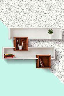 Etajere  Geometrically intriguing overlapping shelves. modern look.