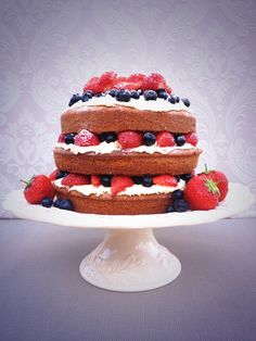 Layered Victoria sponge cake with buttercream and fresh fruit