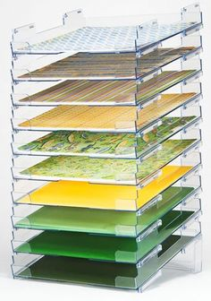 Display Dynamics - Perfect Paper Stackable Paper Trays - 12x12 - Lipped - 10 Pack at Scrapbook.com