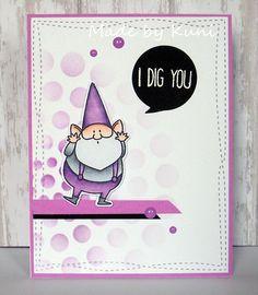 MFT You Gnome Me; stencil; dots; DIB; pink lavender purple; adorable; I dig you; You Gnome Me Fave