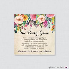 floral panty game printable floral lingerie shower panty game cards and sign lingerie shower game party game 0002a
