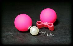 Pinke Perlen Doppel-Perlen Ohrstecker von byschmuckesLaedchen