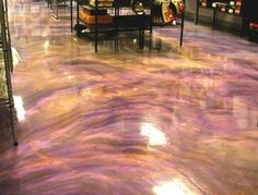 stained concrete floors kitchen | Using a black-pigmented base brought the semi-transparent Reflector ...