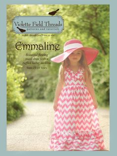 fairytale frocks and lollipops :: violette field threads, emmaline, maxi, maxi dress, girl, baby, infant, toddler, special occasion, wedding, boutique, long, ruffle, formal, church, sewing, pattern, spring, halter, summer//My girls WILL have a dress like this this year!!!  Just need to decide on the color of chevron!!!