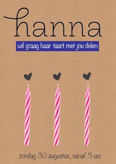 Uitnodiging verjaardag van Hanna. 3 jaar.