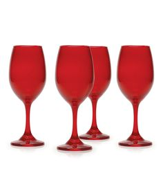 Look at this Moonlight Red 13-Oz. Wine Glass - Set of Four on #zulily today!
