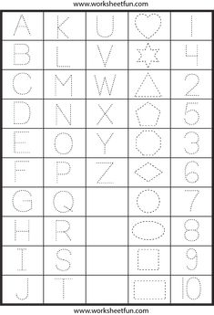 Letters, Numbers and Shapes Tracing Worksheet