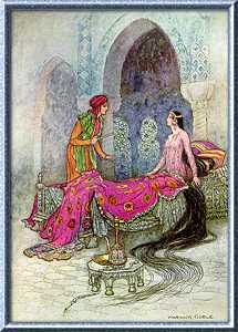 """Folk-tales of Bengal 1912 Illustrations by Warwick Goble """"In a trice she woke up, sat up in her bed, and eyeing the stranger, iquired who he was. Warwick Goble, Harry Clarke, Arthur Rackham, Fairytale Art, Old Paintings, Paintings Online, Arabian Nights, Art Plastique, Indian Art"""