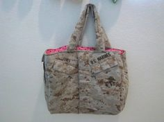 USMC Cami Tote. OMG HAD to repin this it's like it was made just for me with the pink and the last name JONES<3