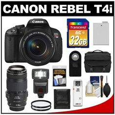 Canon EOS Rebel T4i Digital SLR Camera Body & EF-S 18-135mm IS STM Lens with 70-300mm IS Lens + 32GB Card + Flash + Battery + Case + Filters + Accessory Kit by Canon. $1649.95. Kit includes:♦ 1) Canon EOS Rebel T4i Digital SLR Camera Body & EF-S 18-135mm IS STM Lens♦ 2) Canon EF 70-300mm f/4-5.6 IS USM Zoom Lens♦ 3) Transcend 32GB Class 10 SDHC Card♦ 4) Spare LP-E8 Battery♦ 5) 67mm UV Filter♦ 6) 58mm UV Filter♦ 7) Vivitar RC-6 Wireless Remote♦ 8...