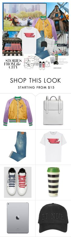 """""""New York,New York"""" by rainie-minnie ❤ liked on Polyvore featuring Home Source International, Gucci, Carven, Kate Spade, Nikon and Topshop"""