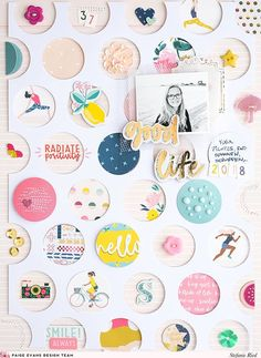 Feast your eyes upon this CUTE CUTE CUTE new layout by design team member Stefanie Ried!One year ago I created a layout with a picture of myself. I hung various stickers, pendants, etc. on yarn. This