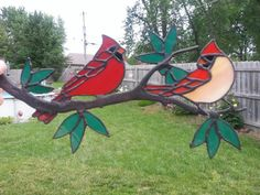 Stained glass Cardinals. Branch and pattern bought from Chippaway Art Glass.