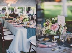 La Tavola Fine Linen Rental: Dupionique Ice Blue with Tuscany Twilight Table Runner and Nuovo Peach Napkins (right) and Lacy Pearl with Tuscany Twilight Table Runner and Nuovo Peach Napkins (left) | Photography: Jackie Wonders Photography, Event Design & Planning: Beau & Arrow Events, Florals: Root 75